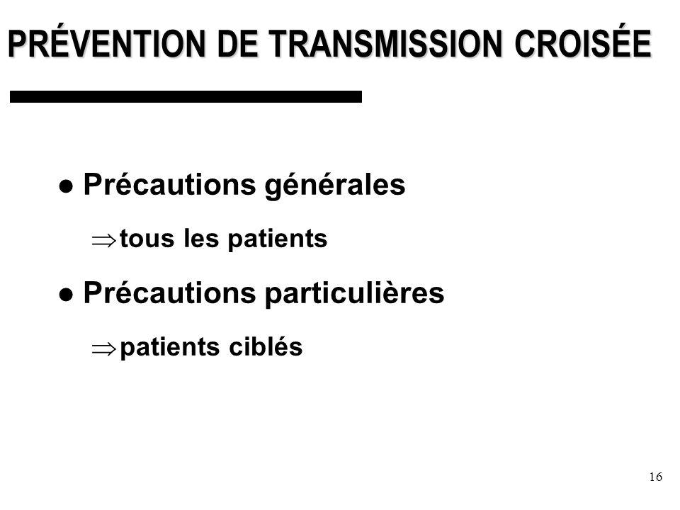 16 PRÉVENTION DE TRANSMISSION CROISÉE Précautions générales tous les patients Précautions particulières patients ciblés