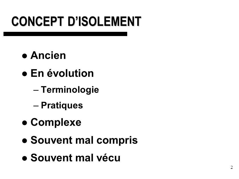 2 CONCEPT DISOLEMENT Ancien En évolution –Terminologie –Pratiques Complexe Souvent mal compris Souvent mal vécu