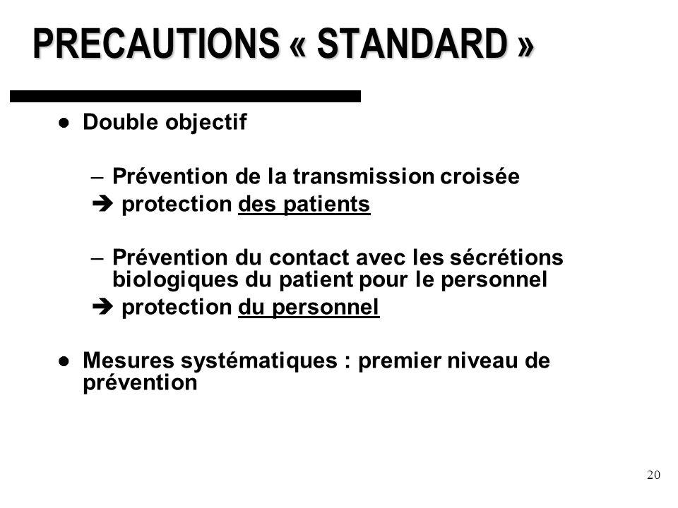 20 PRECAUTIONS « STANDARD » Double objectif –Prévention de la transmission croisée protection des patients –Prévention du contact avec les sécrétions biologiques du patient pour le personnel protection du personnel Mesures systématiques : premier niveau de prévention