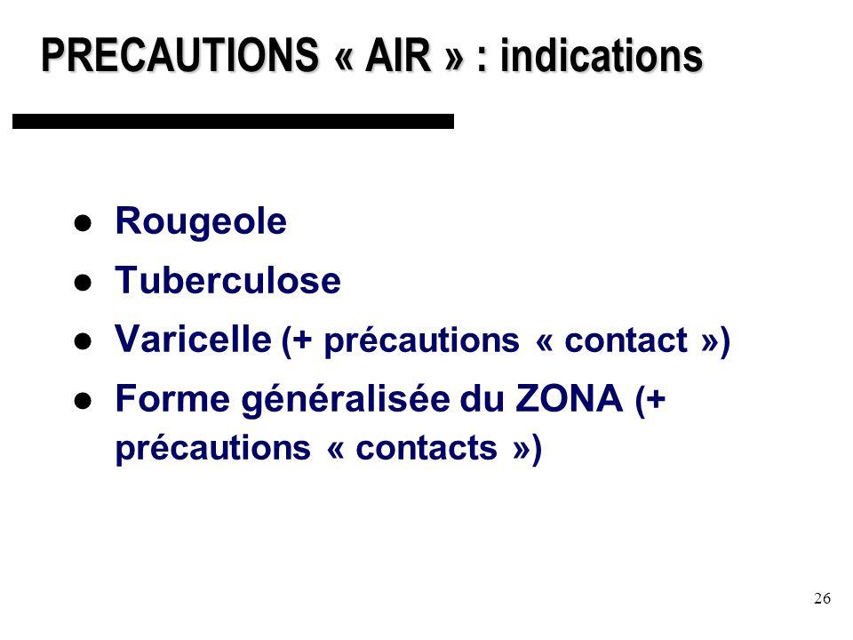 26 PRECAUTIONS « AIR » : indications Rougeole Tuberculose Varicelle (+ précautions « contact ») Forme généralisée du ZONA (+ précautions « contacts »)
