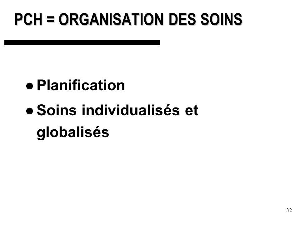 32 PCH = ORGANISATION DES SOINS Planification Soins individualisés et globalisés