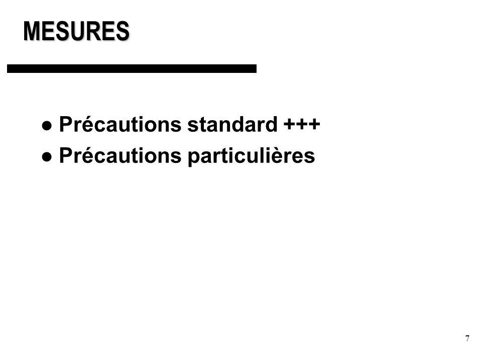 7MESURES Précautions standard +++ Précautions particulières
