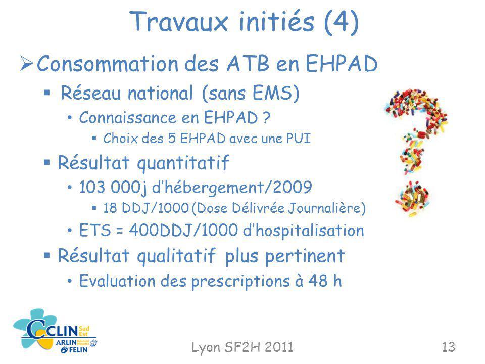 Travaux initiés (4) Lyon SF2H 201113 Consommation des ATB en EHPAD Réseau national (sans EMS) Connaissance en EHPAD ? Choix des 5 EHPAD avec une PUI R