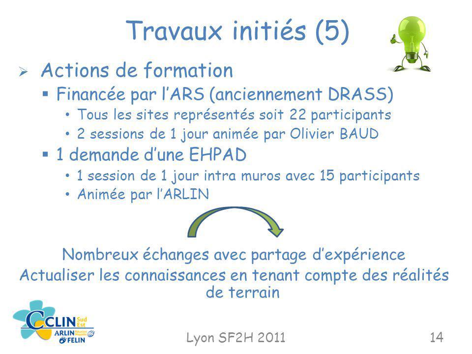 Travaux initiés (5) Lyon SF2H 201114 Actions de formation Financée par lARS (anciennement DRASS) Tous les sites représentés soit 22 participants 2 ses