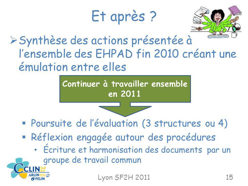 Et après ? Lyon SF2H 201115 Synthèse des actions présentée à lensemble des EHPAD fin 2010 créant une émulation entre elles Poursuite de lévaluation (3