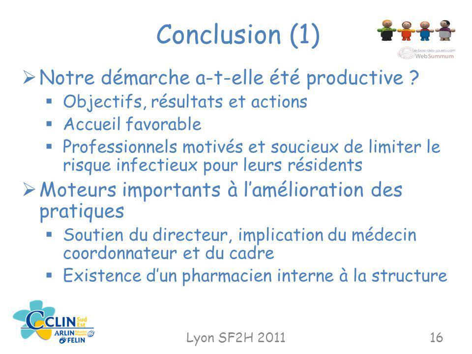 Conclusion (1) Lyon SF2H 201116 Notre démarche a-t-elle été productive ? Objectifs, résultats et actions Accueil favorable Professionnels motivés et s
