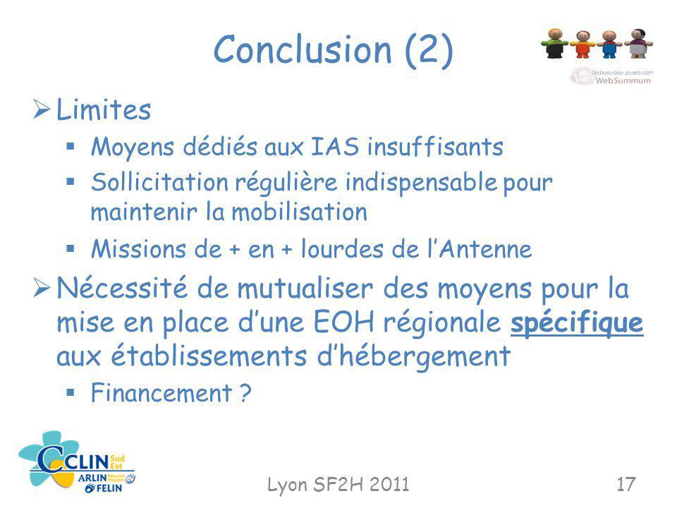 Conclusion (2) Lyon SF2H 201117 Limites Moyens dédiés aux IAS insuffisants Sollicitation régulière indispensable pour maintenir la mobilisation Missio