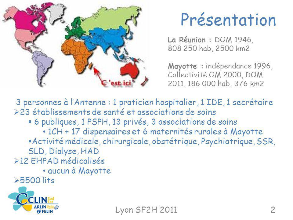 Présentation Lyon SF2H 20112 3 personnes à lAntenne : 1 praticien hospitalier, 1 IDE, 1 secrétaire 23 établissements de santé et associations de soins