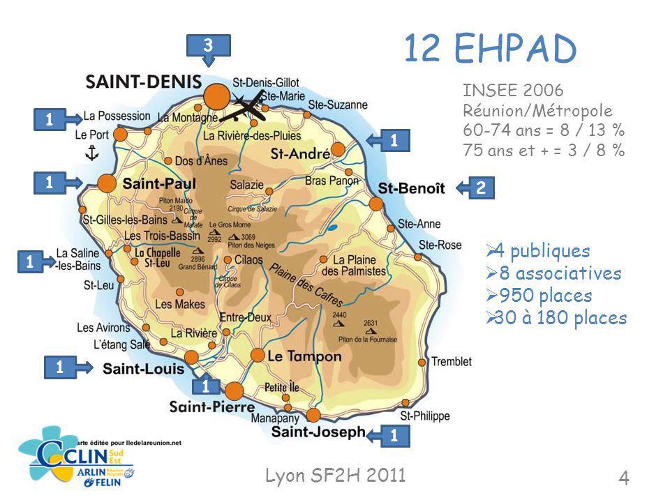 12 EHPAD 3 1 1 1 1 1 1 2 4 publiques 8 associatives 950 places 30 à 180 places Lyon SF2H 2011 4 1 INSEE 2006 Réunion/Métropole 60-74 ans = 8 / 13 % 75