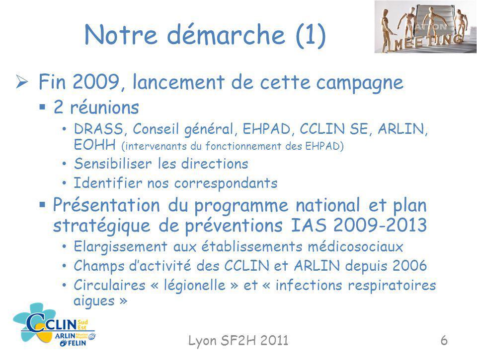 Notre démarche (1) Lyon SF2H 20116 Fin 2009, lancement de cette campagne 2 réunions DRASS, Conseil général, EHPAD, CCLIN SE, ARLIN, EOHH (intervenants