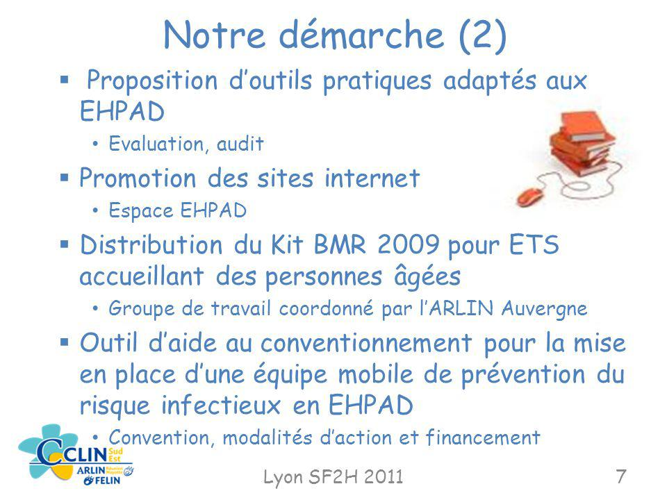 Notre démarche (2) Lyon SF2H 20117 Proposition doutils pratiques adaptés aux EHPAD Evaluation, audit Promotion des sites internet Espace EHPAD Distrib