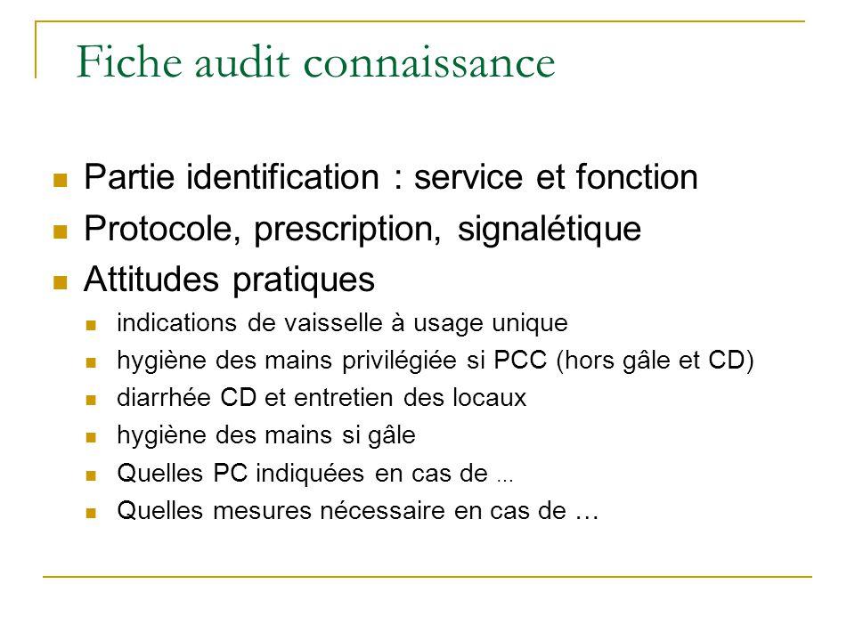 Fiche audit connaissance Partie identification : service et fonction Protocole, prescription, signalétique Attitudes pratiques indications de vaissell