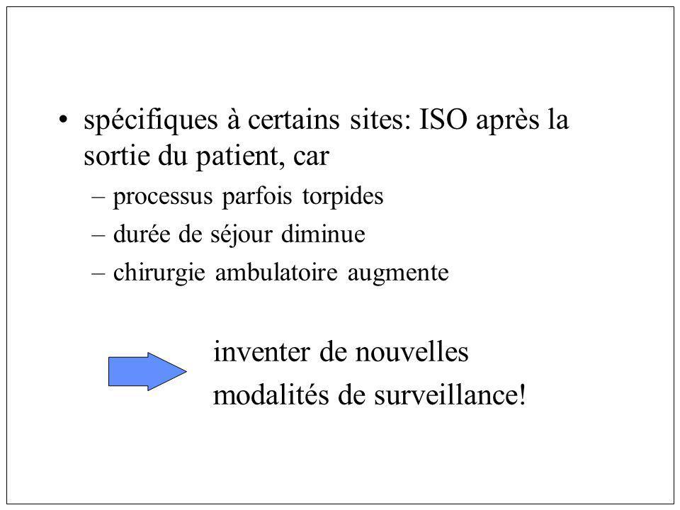 spécifiques à certains sites: ISO après la sortie du patient, car –processus parfois torpides –durée de séjour diminue –chirurgie ambulatoire augmente inventer de nouvelles modalités de surveillance!