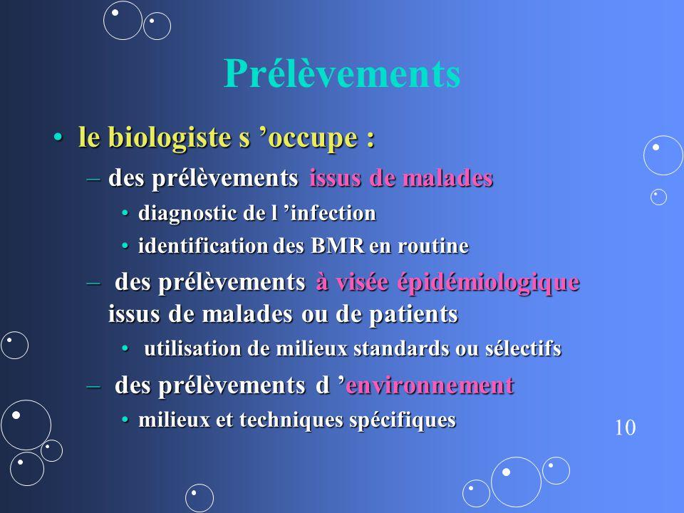 10 Prélèvements le biologiste s occupe :le biologiste s occupe : –des prélèvements issus de malades diagnostic de l infectiondiagnostic de l infection