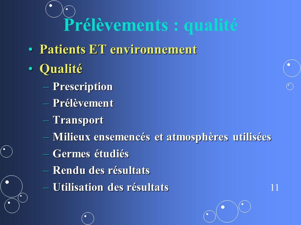 11 Prélèvements : qualité Patients ET environnementPatients ET environnement QualitéQualité –Prescription –Prélèvement –Transport –Milieux ensemencés