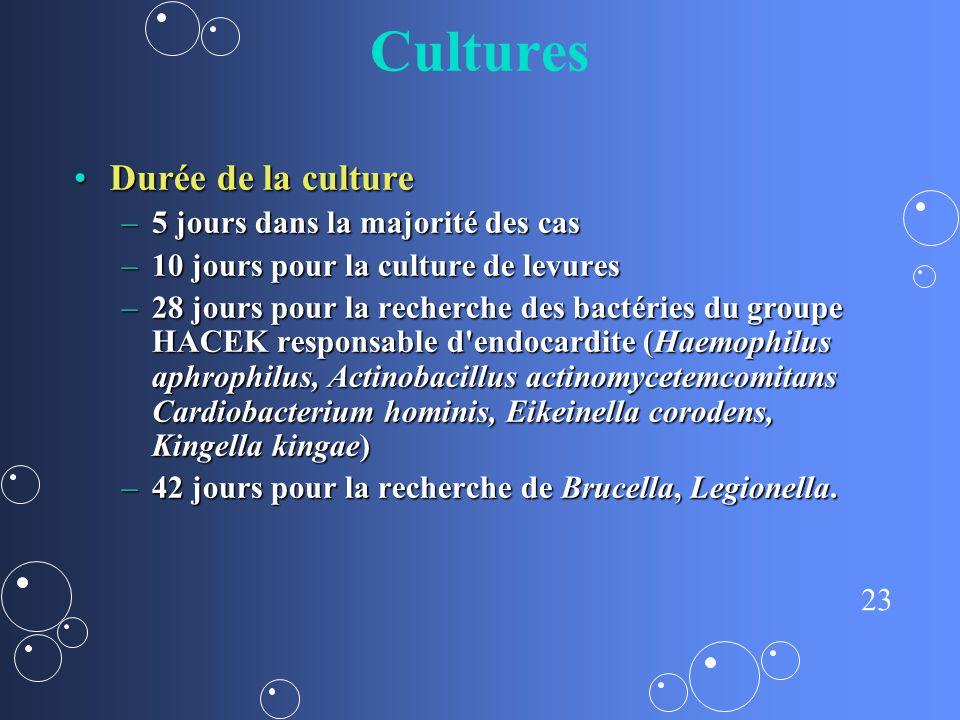 23 Cultures Durée de la cultureDurée de la culture –5 jours dans la majorité des cas –10 jours pour la culture de levures –28 jours pour la recherche
