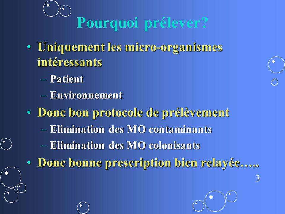 3 Pourquoi prélever? Uniquement les micro-organismes intéressantsUniquement les micro-organismes intéressants –Patient –Environnement Donc bon protoco