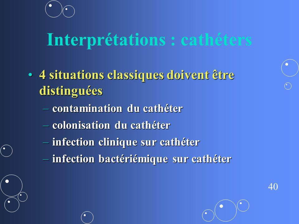 40 Interprétations : cathéters 4 situations classiques doivent être distinguées4 situations classiques doivent être distinguées –contamination du cath