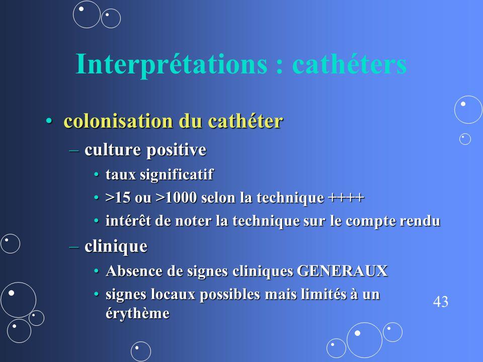 43 Interprétations : cathéters colonisation du cathétercolonisation du cathéter –culture positive taux significatiftaux significatif >15 ou >1000 selo