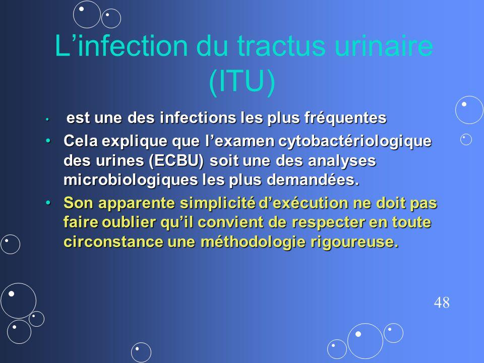 48 Linfection du tractus urinaire (ITU) est une des infections les plus fréquentes est une des infections les plus fréquentes Cela explique que lexame