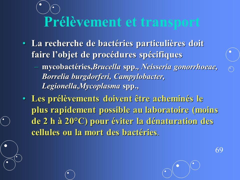 69 Prélèvement et transport La recherche de bactéries particulières doit faire lobjet de procédures spécifiquesLa recherche de bactéries particulières