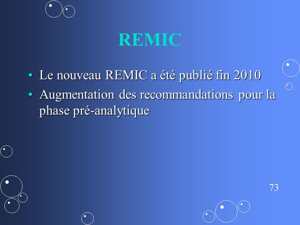 73 REMIC Le nouveau REMIC a été publié fin 2010Le nouveau REMIC a été publié fin 2010 Augmentation des recommandations pour la phase pré-analytiqueAug