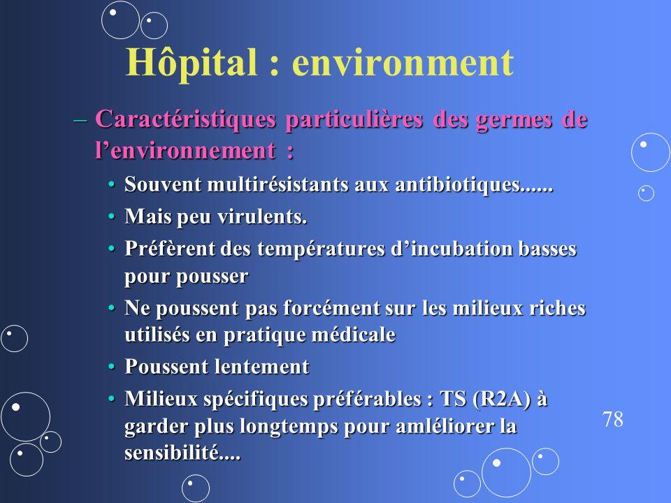 78 Hôpital : environment –Caractéristiques particulières des germes de lenvironnement : Souvent multirésistants aux antibiotiques......Souvent multiré