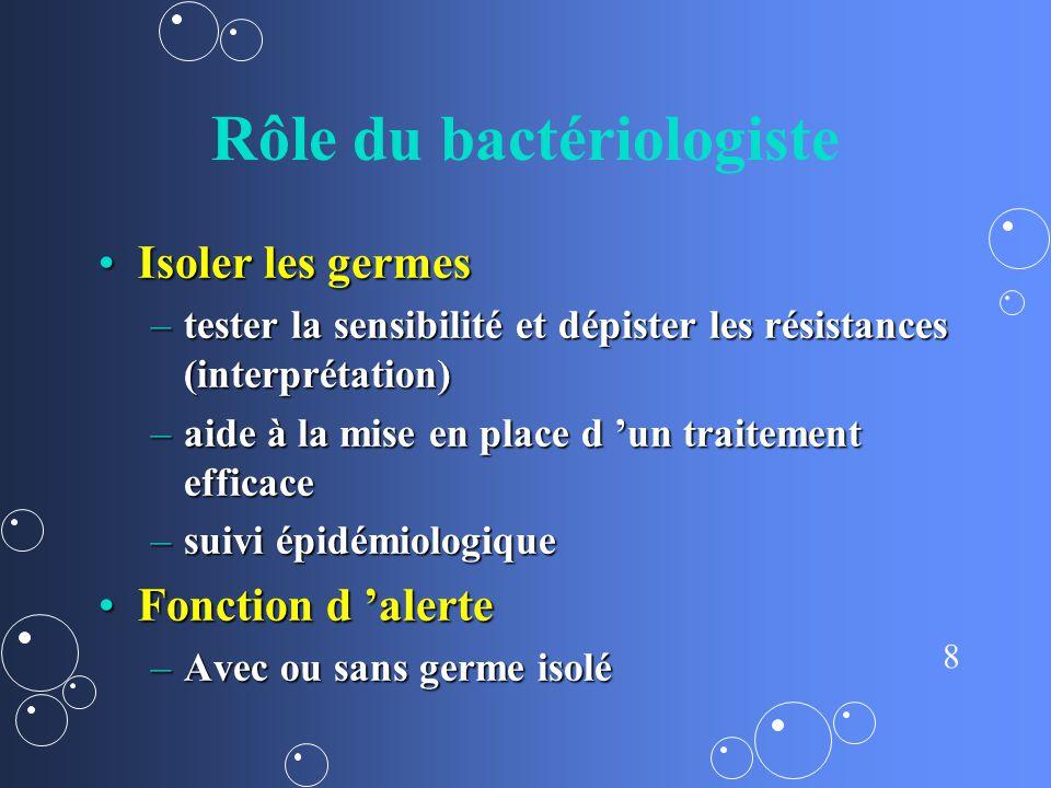 8 Rôle du bactériologiste Isoler les germesIsoler les germes –tester la sensibilité et dépister les résistances (interprétation) –aide à la mise en pl