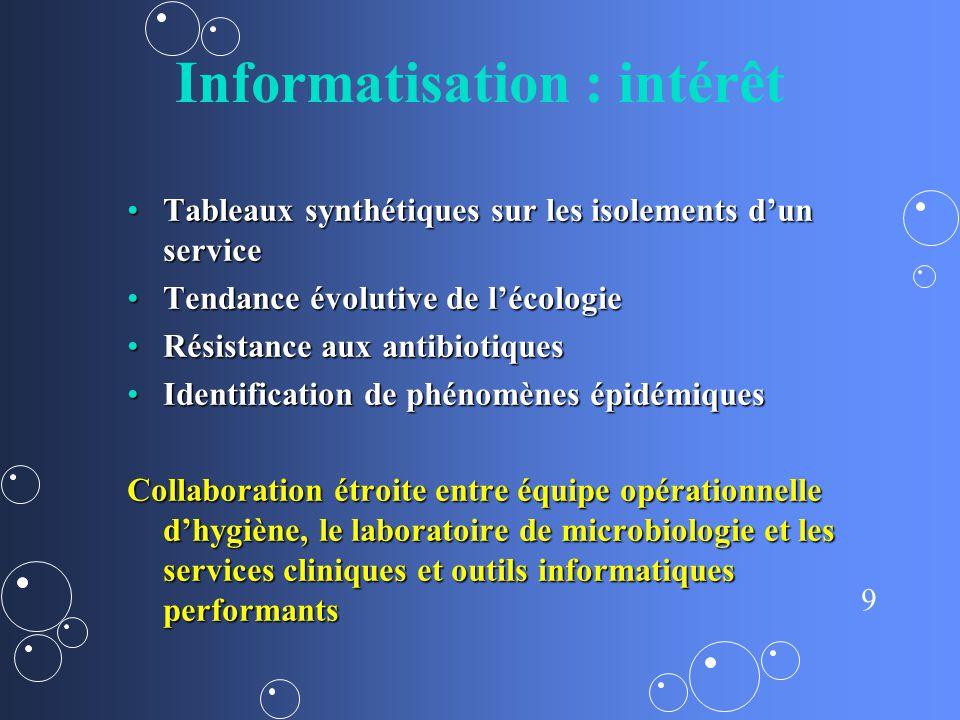 9 Informatisation : intérêt Tableaux synthétiques sur les isolements dun serviceTableaux synthétiques sur les isolements dun service Tendance évolutiv