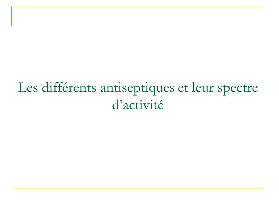 Les différents antiseptiques et leur spectre dactivité