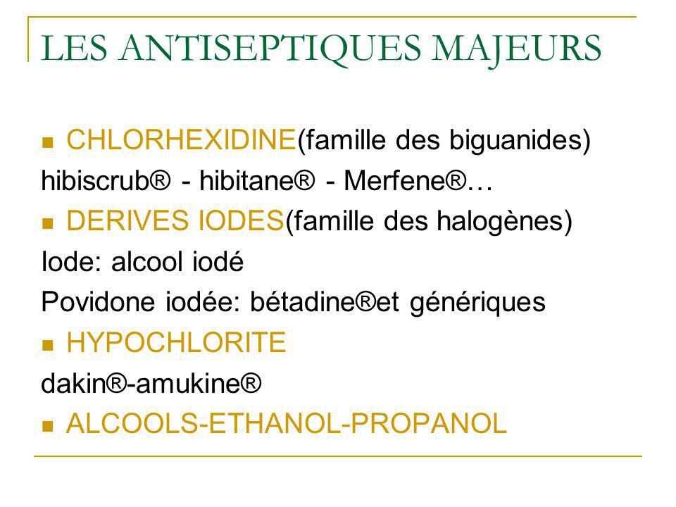 LES ANTISEPTIQUES MAJEURS CHLORHEXIDINE(famille des biguanides) hibiscrub® - hibitane® - Merfene®… DERIVES IODES(famille des halogènes) Iode: alcool i
