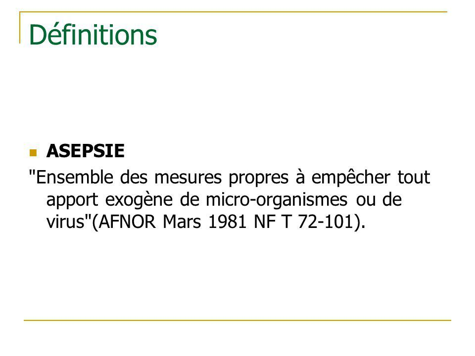 Définitions ASEPSIE