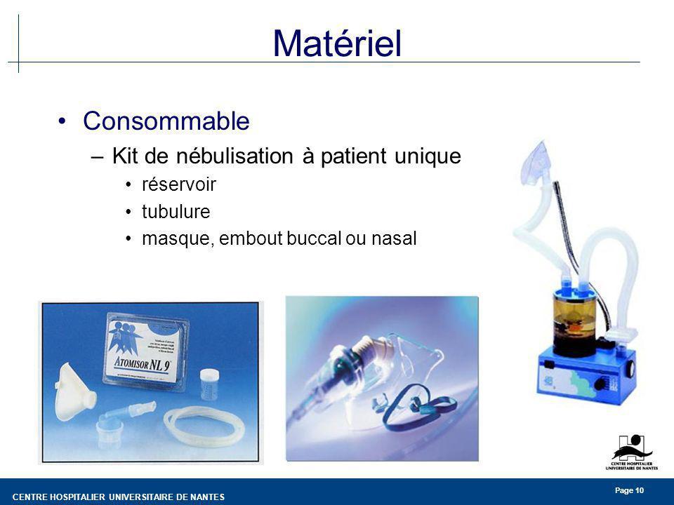 CENTRE HOSPITALIER UNIVERSITAIRE DE NANTES Page 10 Matériel Consommable –Kit de nébulisation à patient unique réservoir tubulure masque, embout buccal