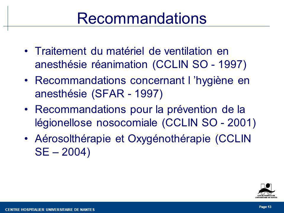 CENTRE HOSPITALIER UNIVERSITAIRE DE NANTES Page 13 Recommandations Traitement du matériel de ventilation en anesthésie réanimation (CCLIN SO - 1997) R