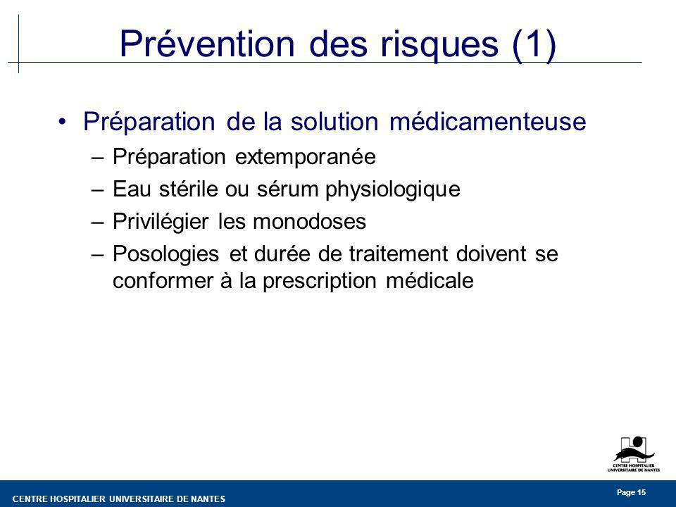CENTRE HOSPITALIER UNIVERSITAIRE DE NANTES Page 15 Prévention des risques (1) Préparation de la solution médicamenteuse –Préparation extemporanée –Eau