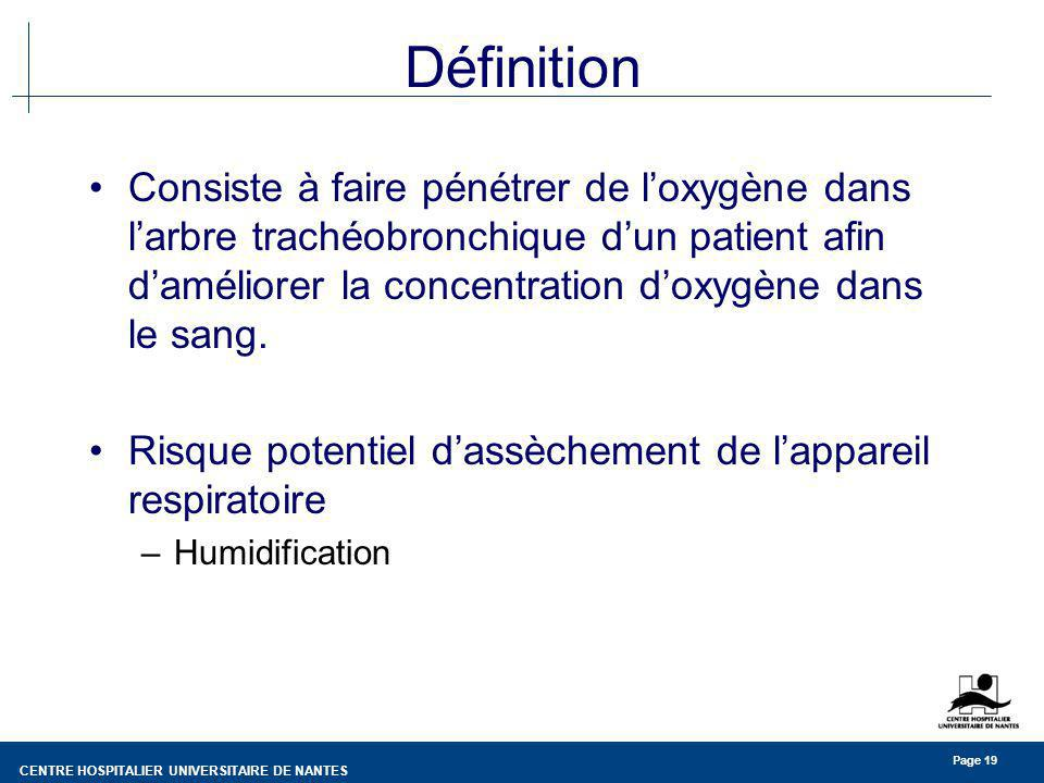 CENTRE HOSPITALIER UNIVERSITAIRE DE NANTES Page 19 Définition Consiste à faire pénétrer de loxygène dans larbre trachéobronchique dun patient afin dam