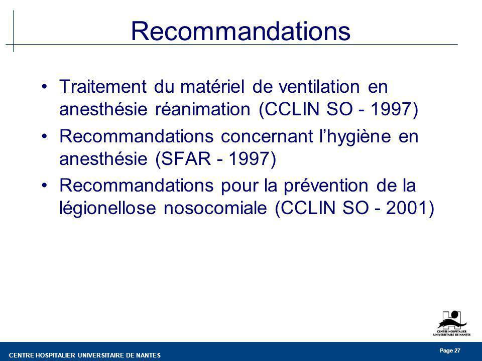 CENTRE HOSPITALIER UNIVERSITAIRE DE NANTES Page 27 Recommandations Traitement du matériel de ventilation en anesthésie réanimation (CCLIN SO - 1997) R