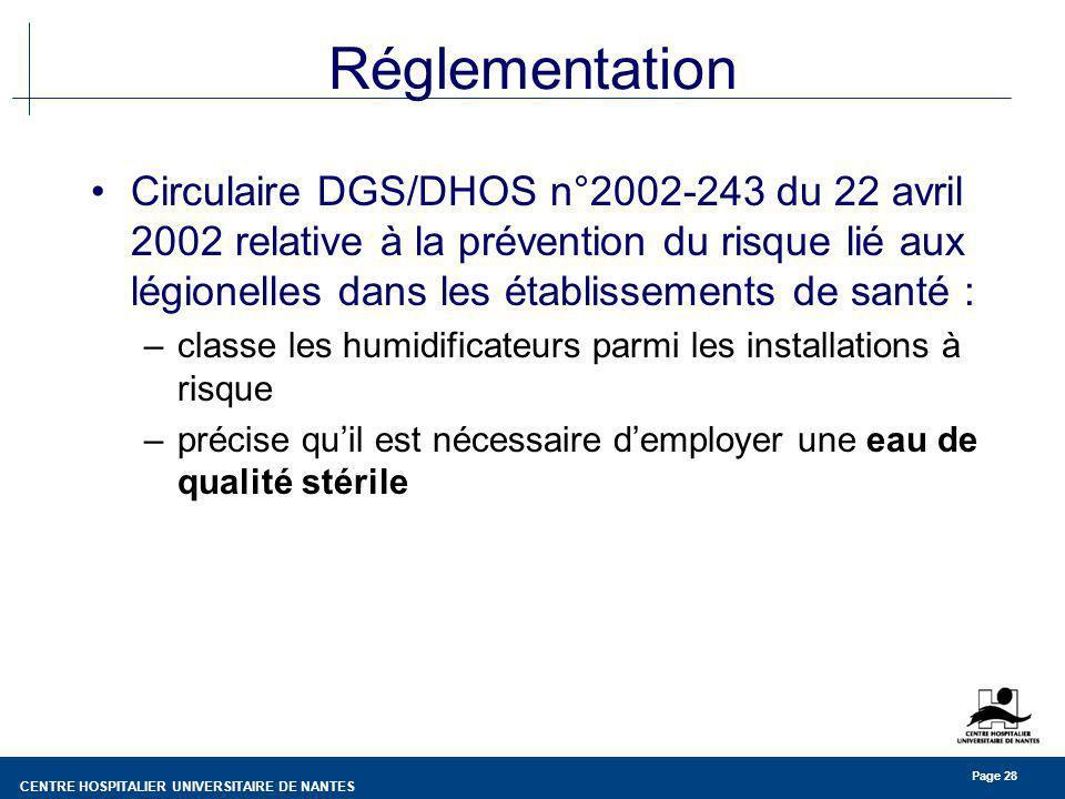 CENTRE HOSPITALIER UNIVERSITAIRE DE NANTES Page 28 Réglementation Circulaire DGS/DHOS n°2002-243 du 22 avril 2002 relative à la prévention du risque l