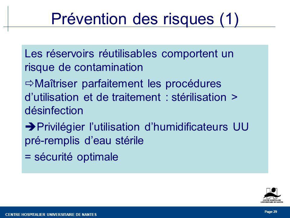 CENTRE HOSPITALIER UNIVERSITAIRE DE NANTES Page 29 Prévention des risques (1) Les réservoirs réutilisables comportent un risque de contamination Maîtr