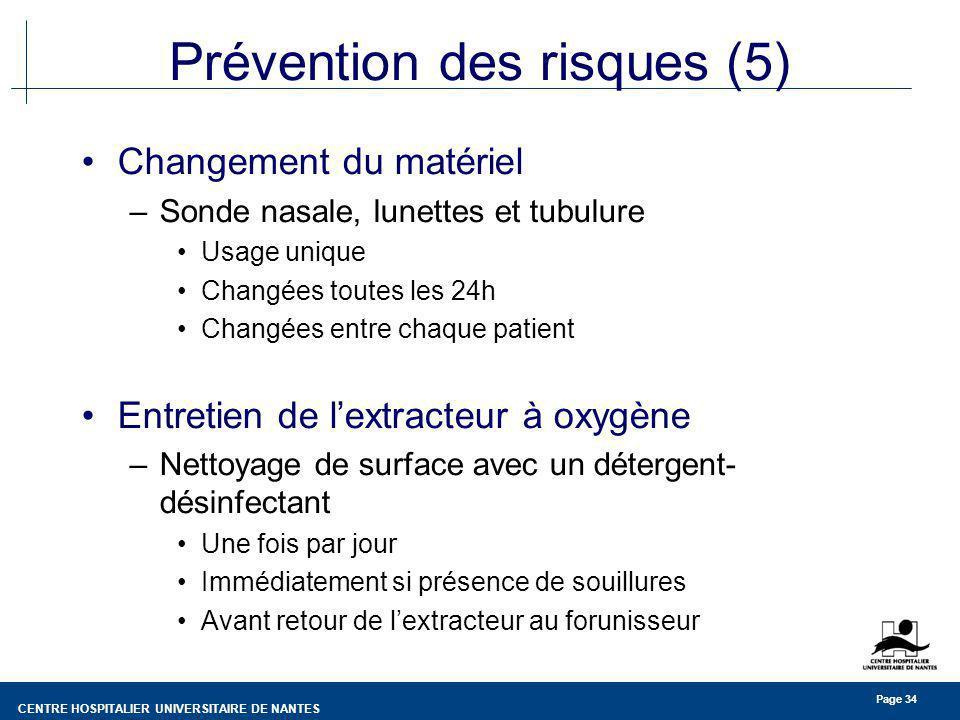 CENTRE HOSPITALIER UNIVERSITAIRE DE NANTES Page 34 Prévention des risques (5) Changement du matériel –Sonde nasale, lunettes et tubulure Usage unique