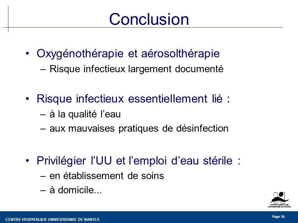 CENTRE HOSPITALIER UNIVERSITAIRE DE NANTES Page 35 Conclusion Oxygénothérapie et aérosolthérapie –Risque infectieux largement documenté Risque infecti