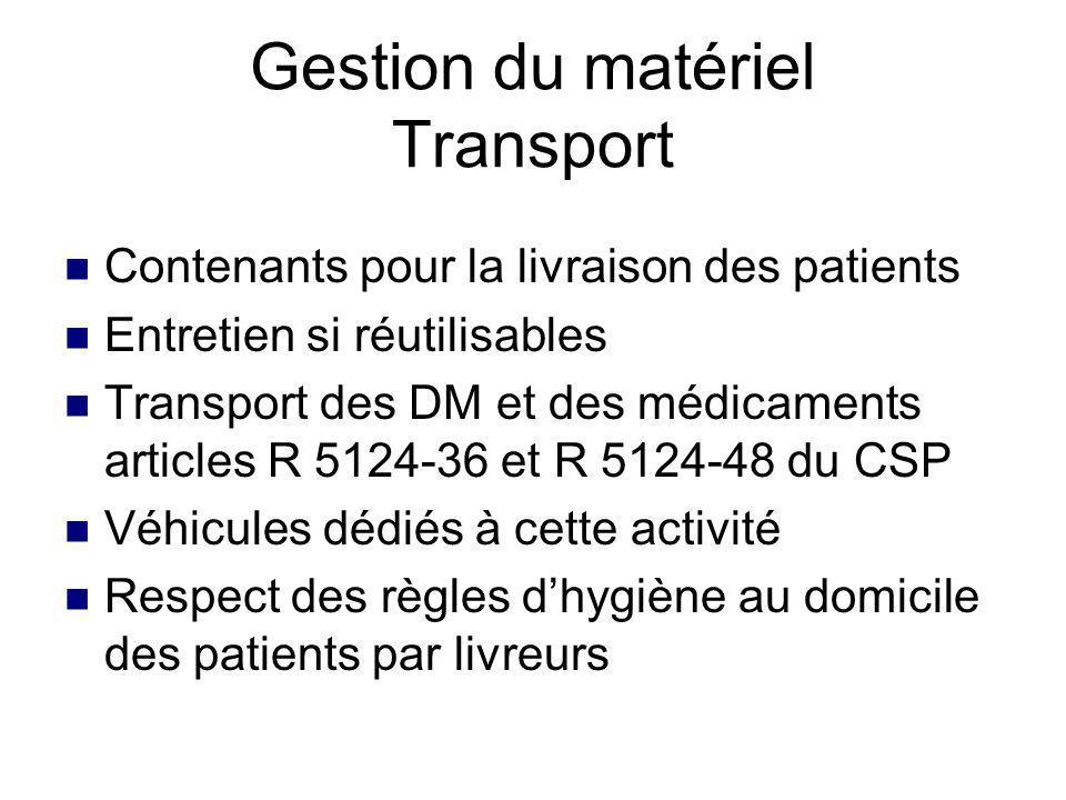 Matériel fourni par HAD ou prestataire Organisation des locaux HAD Respect règles de stockage des DM Gestion et entretien des retours Gestion du matériel base logistique