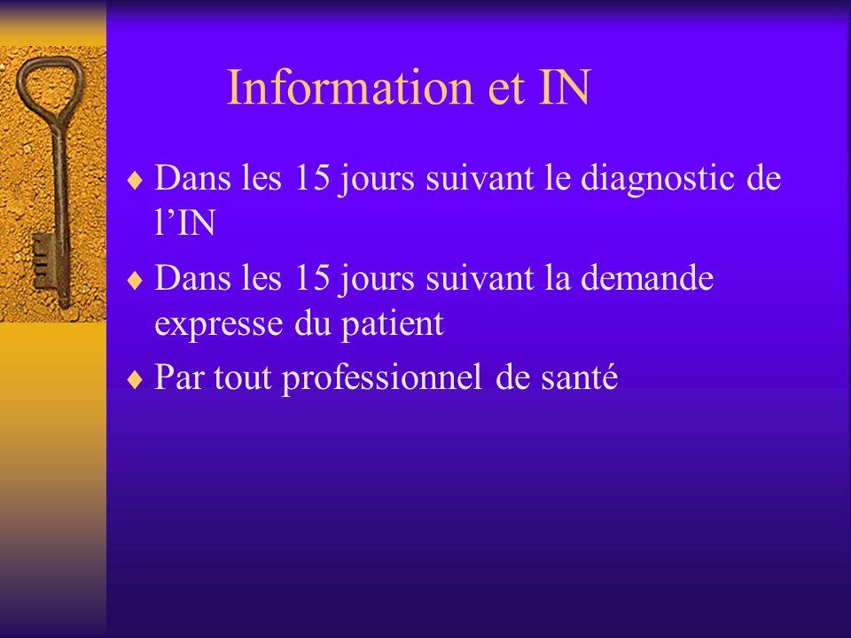 Information et IN Dans les 15 jours suivant le diagnostic de lIN Dans les 15 jours suivant la demande expresse du patient Par tout professionnel de santé