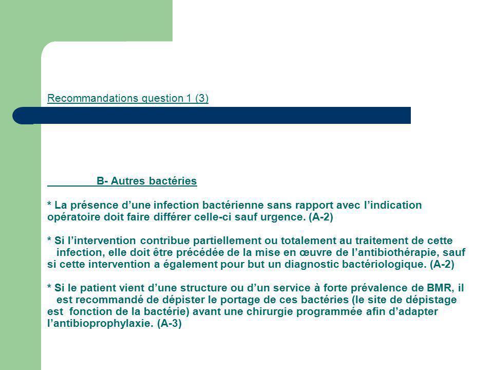 Recommandations question 1 (3) B- Autres bactéries * La présence dune infection bactérienne sans rapport avec lindication opératoire doit faire différ