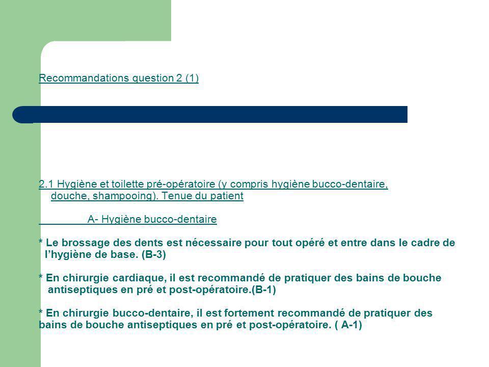 Recommandations question 2 (1) 2.1 Hygiène et toilette pré-opératoire (y compris hygiène bucco-dentaire, douche, shampooing). Tenue du patient A- Hygi