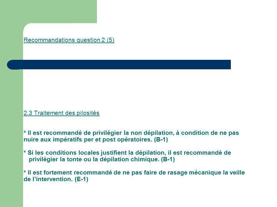 Recommandations question 2 (5) 2.3 Traitement des pilosités * Il est recommandé de privilégier la non dépilation, à condition de ne pas nuire aux impé