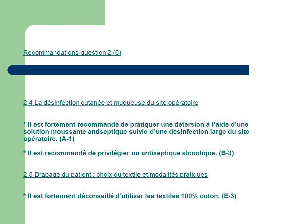 Recommandations question 2 (6) 2.4 La désinfection cutanée et muqueuse du site opératoire * Il est fortement recommandé de pratiquer une détersion à l