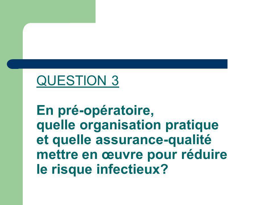 QUESTION 3 En pré-opératoire, quelle organisation pratique et quelle assurance-qualité mettre en œuvre pour réduire le risque infectieux?