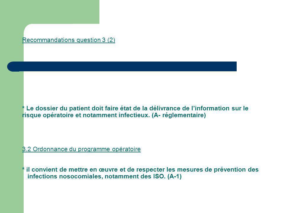 Recommandations question 3 (2) * Le dossier du patient doit faire état de la délivrance de linformation sur le risque opératoire et notamment infectie