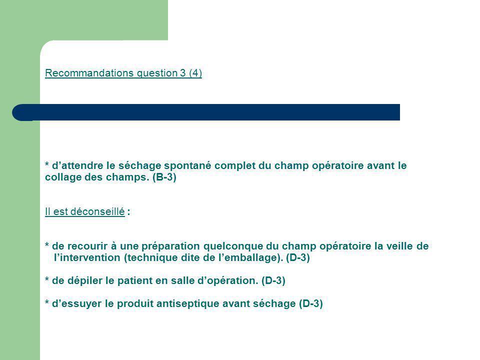 Recommandations question 3 (4) * dattendre le séchage spontané complet du champ opératoire avant le collage des champs. (B-3) Il est déconseillé : * d